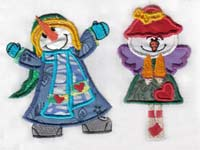 Applique Snow People Machine Embroidery Designs