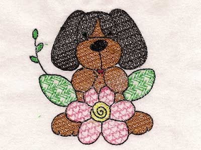 Beagles and Flowers Machine Embroidery Designs