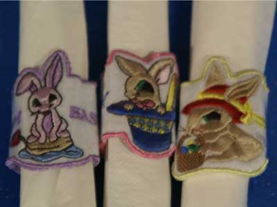 Bunny Napkin Rings Machine Embroidery Designs