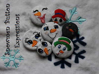 Cute Button Snowman Expressions