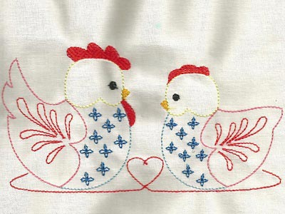 Colorline Folk Art Chickens