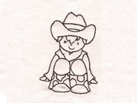 Redwork Cowboys Machine Embroidery Designs