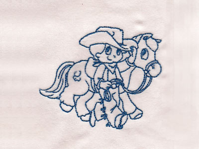 Cute Cowboy Redwork Embroidery Machine Design