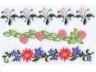 Floral Endless Borders 2 Embroidery Machine Design