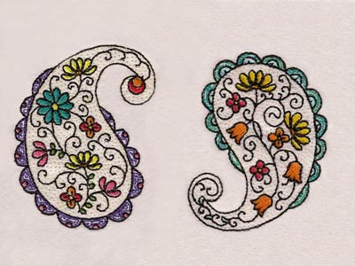 Machine Embroidery Designs Floral Paisley Set