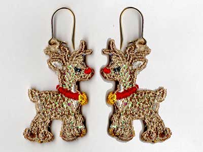 Free Standing Lace Mylar Holiday Earrings v2 Machine Embroidery Designs