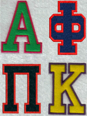Greek Applique Alphabet Embroidery Machine Design
