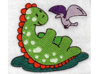 Green Dino Machine Embroidery Designs