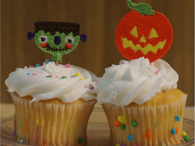 Halloween Cupcake Picks Machine Embroidery Designs