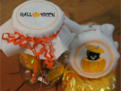 Halloween Jar Covers Machine Embroidery Designs