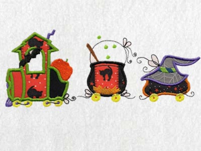 Applique Halloween Train Machine Embroidery Designs