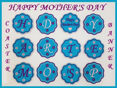 Happy Mothers Day Banner and Coasters
