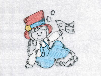 4th of July Country Girls Machine Embroidery Designs