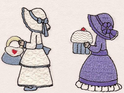 Mix and Match Sunbonnet Girls Embroidery Machine Design
