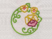 Pansies Circles Machine Embroidery Designs