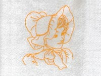 Realistic Redwork Sunbonnets Machine Embroidery Designs