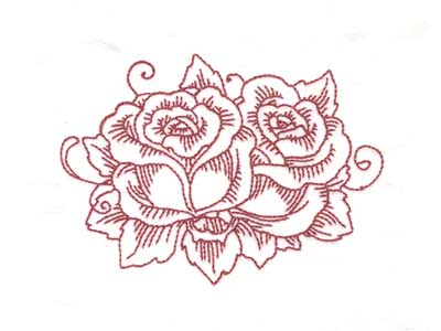 Beautiful Redwork Roses Machine Embroidery Designs