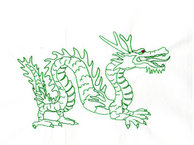 Redwork Year of the Dragon Machine Embroidery Designs