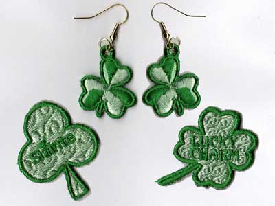 Shamrock Earrings With Matching Pins Embroidery Machine Design