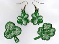 Shamrock Earrings With Matching Pins Machine Embroidery Designs