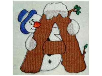 Snowman Alphabet Embroidery Machine Design