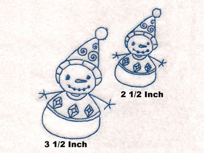 Sticky Bluework Snowmen Embroidery Machine Design