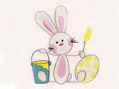 Sticky Easter Bunnies Embroidery Machine Design