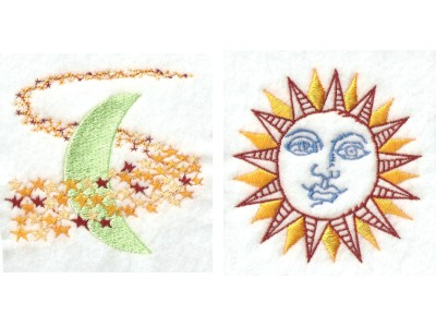 Sun Moon and Stars Sun Moon and Stars Embroidery Machine Design 10 Designs