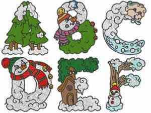Winter Alphabet Embroidery Machine Design