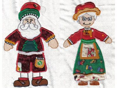 Mr and Mrs Santa Paper Dolls Machine Embroidery Designs