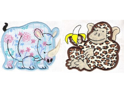 Zoo Animals Applique Machine Embroidery Designs