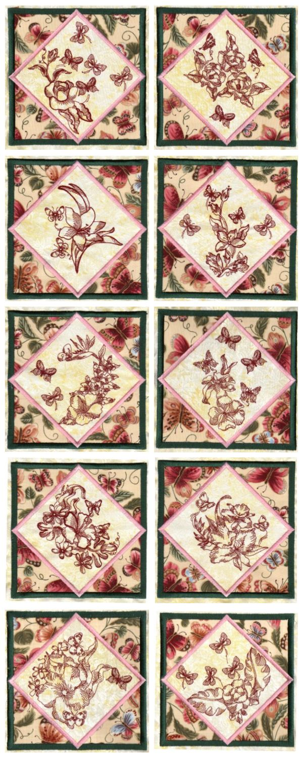6x9 Butterfly Quilt Blocks Embroidery Machine Design Details