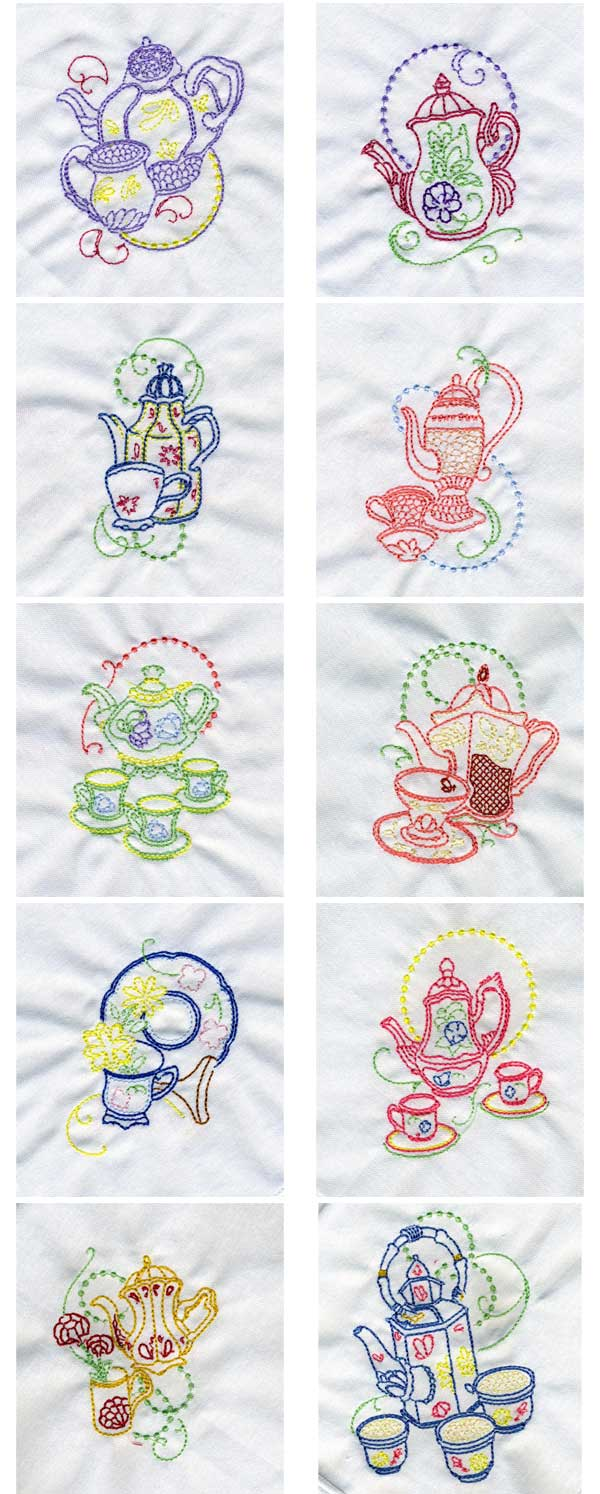 Machine Embroidery Designs  Decorative Teapots Set