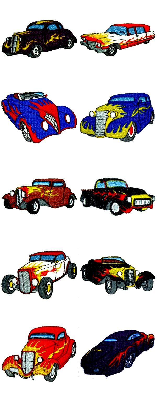 American Hot Rods Embroidery Machine Design Details
