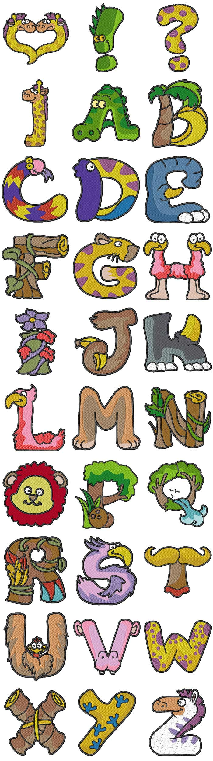 Machine embroidery designs animal alphabet set