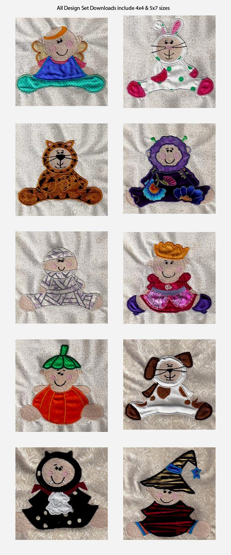 Applique Babys First Halloween Embroidery Machine Design Details