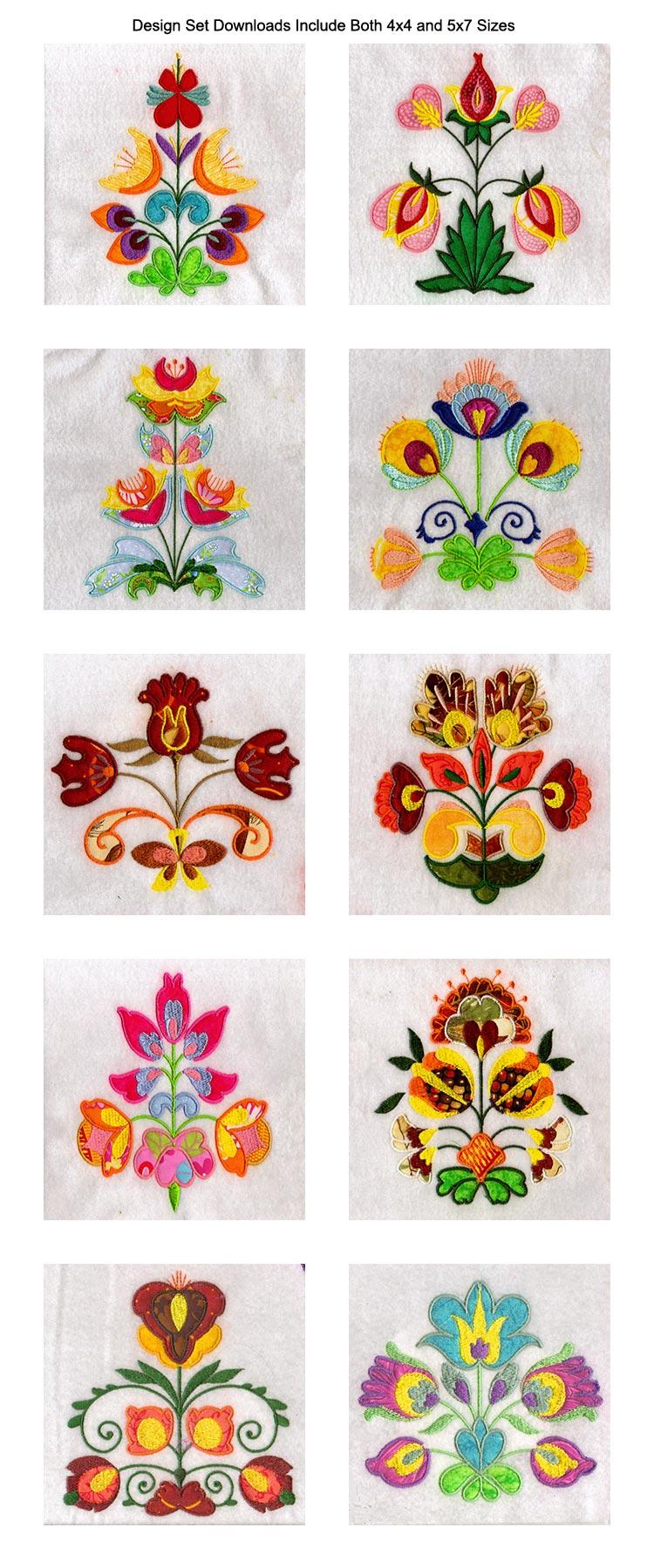 Applique folkart flowers machine embroidery designs ebay