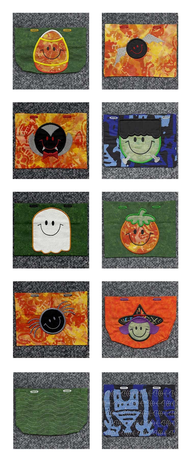 Applique Halloween Treat Bags Embroidery Machine Design Details