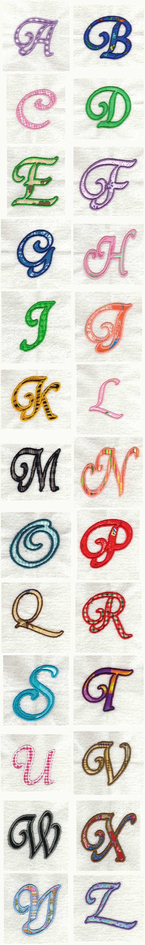 Applique Alphabet Embroidery Machine Design Details