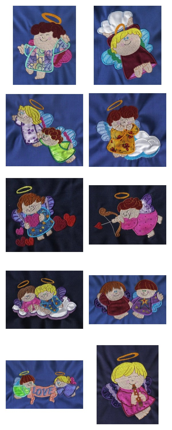 Applique Chubby Angels Embroidery Machine Design Details