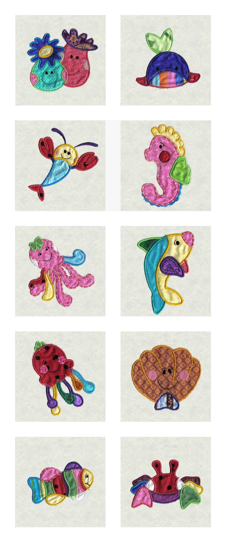 Applique Sea Creatures Embroidery Machine Design Details