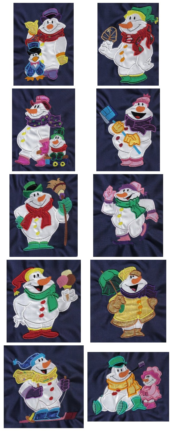 Applique Snowman Embroidery Machine Design Details