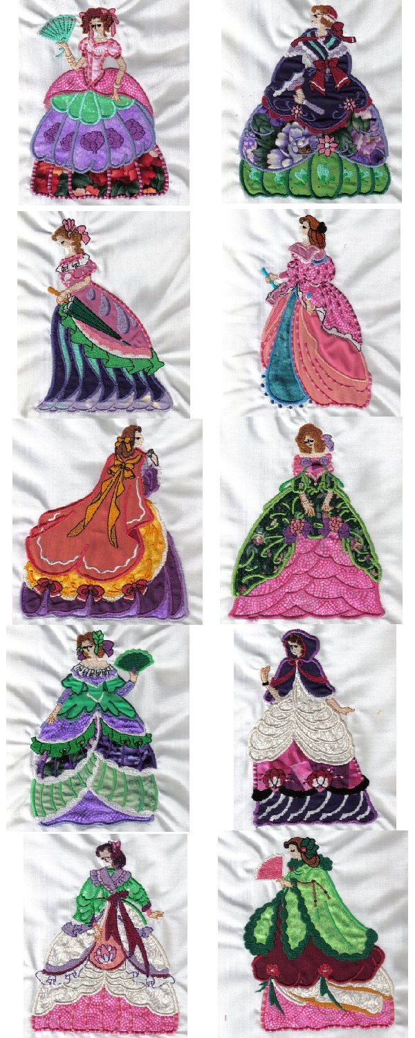 Applique Victorian Ladies Embroidery Machine Design Details