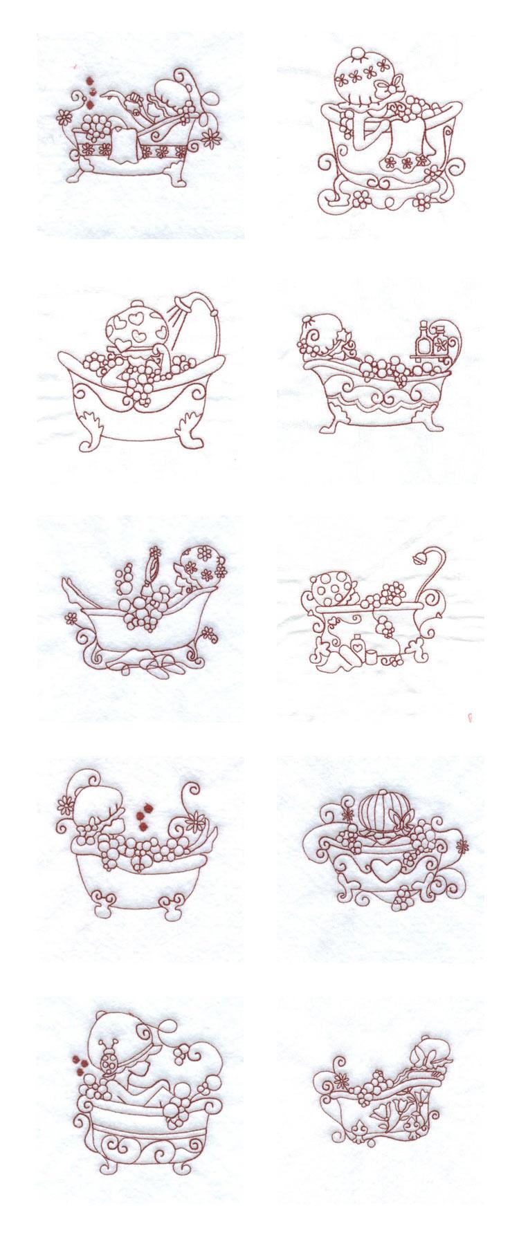Machine Embroidery Designs Bubble Bath Bonnets Set