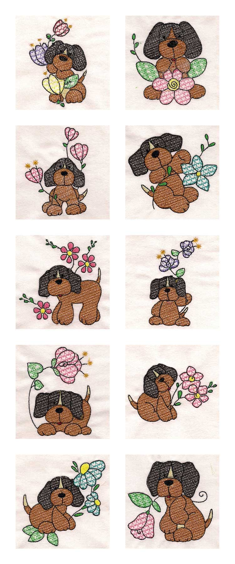 Beagles and Flowers Embroidery Machine Design Details