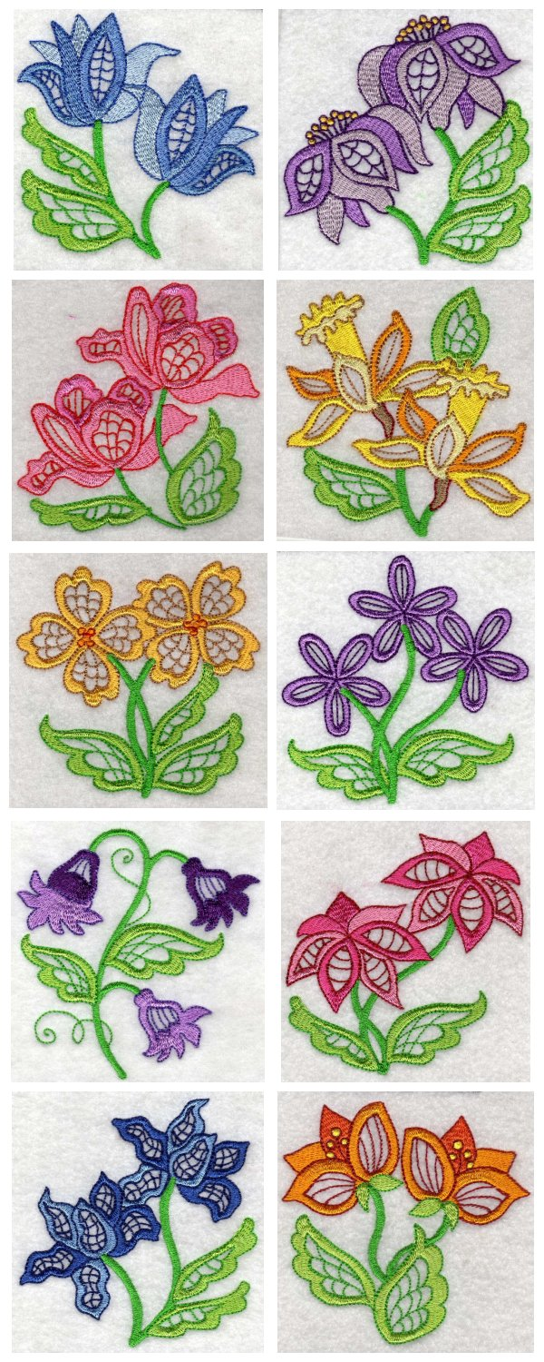 Large Jacobean Flowers Embroidery Machine Design Details