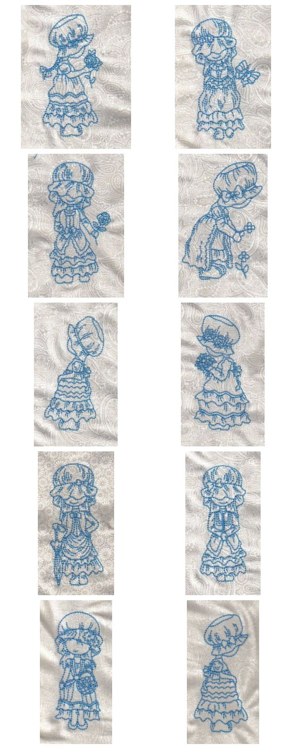 Blue Work Bonnets Embroidery Machine Design Details