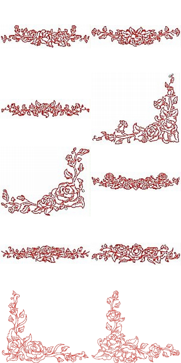 Machine Embroidery Designs  Rose Borders Set