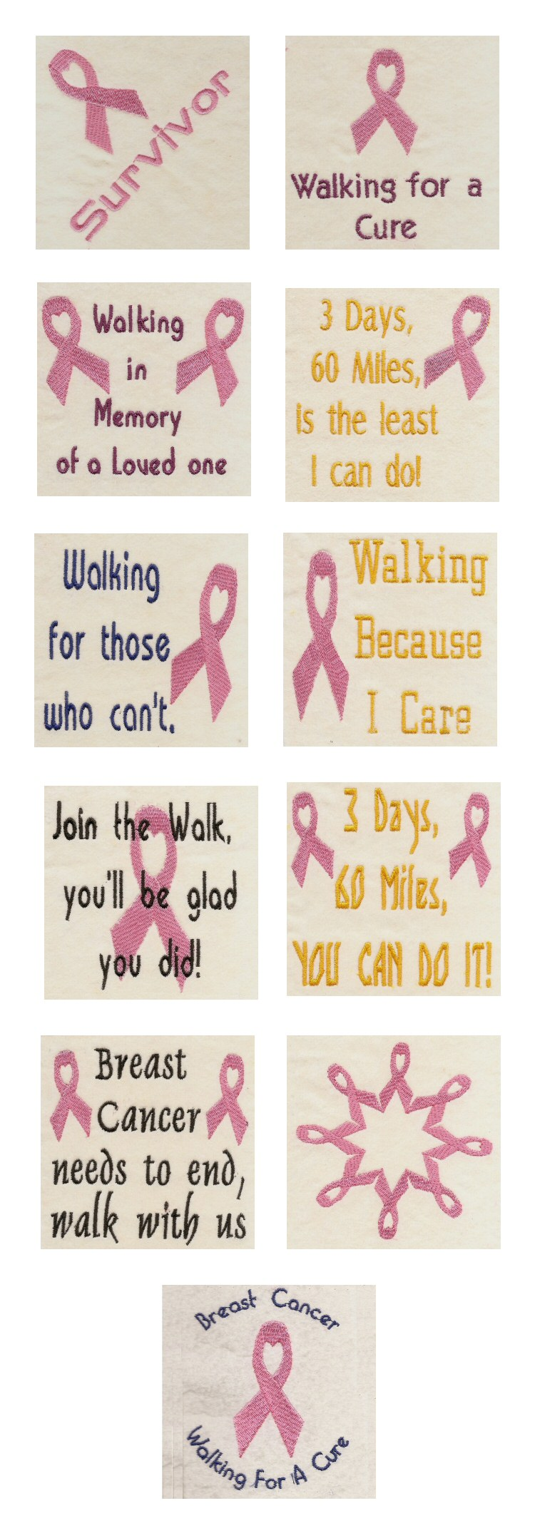 Breast Cancer Awareness Embroidery Machine Design Details
