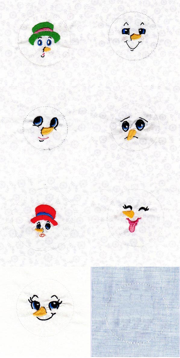Cute Button Snowman Expressions Embroidery Machine Design Details